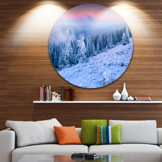Design Art Winter Sunrise over Mountain LandscapePhotography Circle Metal Wall Art