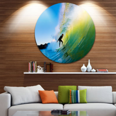 Design Art Surfer Beating Green Waves Disc Photography Circle Metal Wall Art