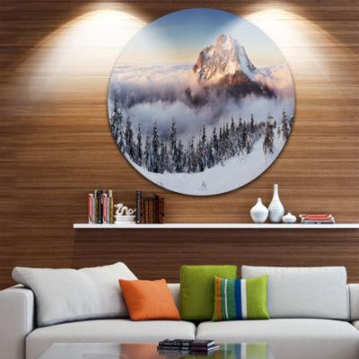 Design Art Winter Mountain Landscape Disc Photography Circle Metal Wall Art