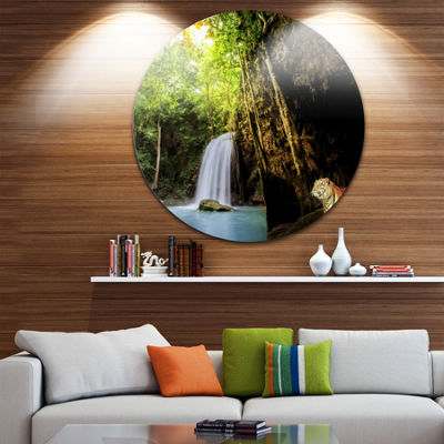 Design Art Tiger Watching Waterfall Landscape Photography Circle Metal Wall Art