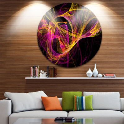 Design Art Wisps of Smoke Yellow in Black AbstractCircle Metal Wall Art
