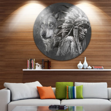 Design Art Wolf and American Indian Chief AbstractMetal Artwork