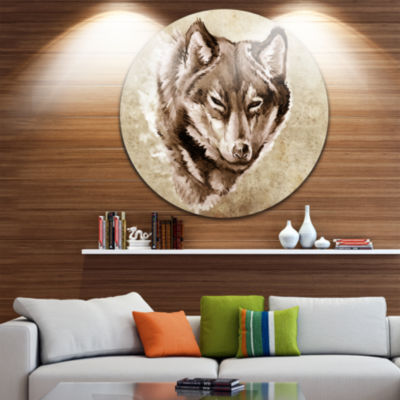 Design Art Wolf Head Tattoo Sketch Large Contemporary Circle Metal Wall Arts