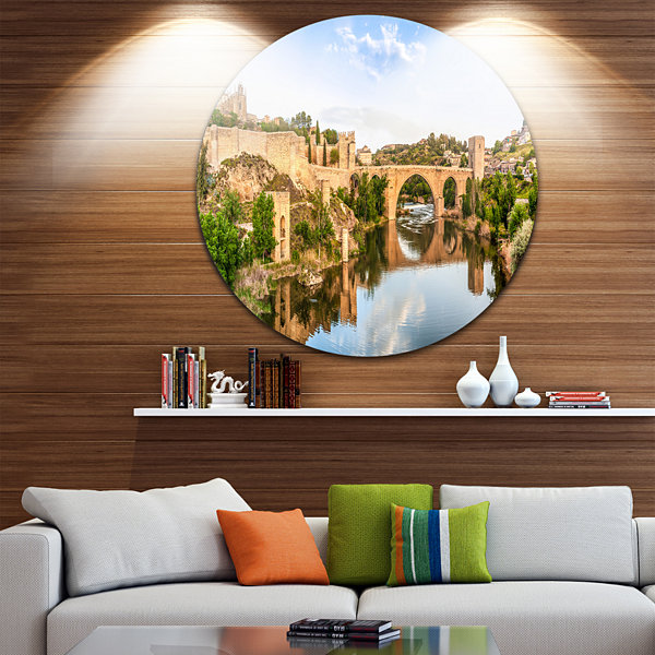 Design Art Toledo Bridge in Spain Landscape Disc Photography Circle Metal Wall Art