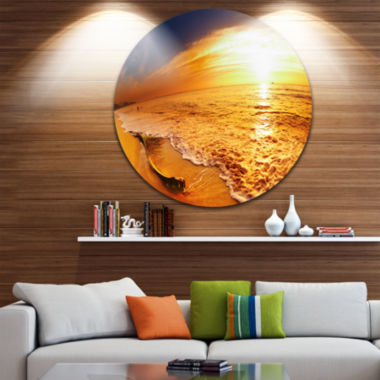 Design Art Tropical Beach at Sunset Disc Photography Circle Metal Wall Art