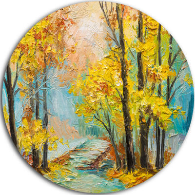 Design Art Yellow Falling Forest Landscape Metal Circle Wall Art