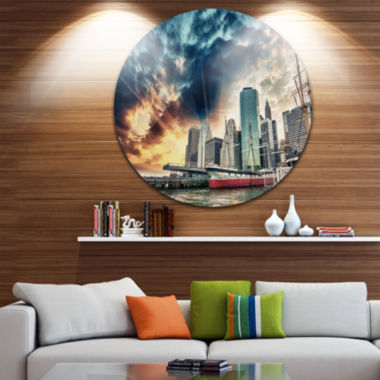 Design Art Sunset Colors of Manhattan Cityscape Photo Circle Circle Metal Wall Art