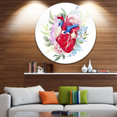 Design Art Watercolor Heart with Flowers Disc Abstract Circle Metal Wall Art