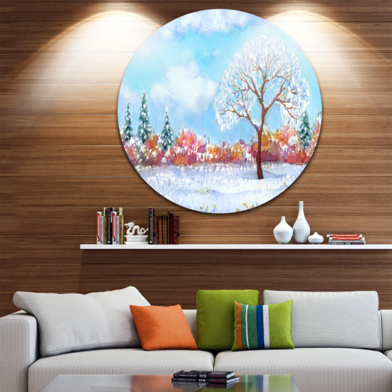 Design Art Tree in Winter Disc Watercolor PaintingLandscape Circle Metal Wall Art