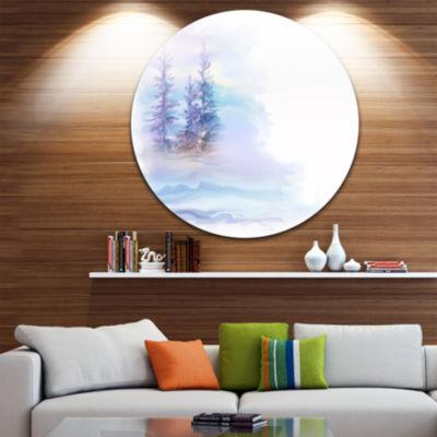 Design Art Watercolor Trees Disc Landscape CircleMetal Wall Art