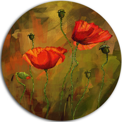 Design Art Watercolor Poppy Flowers Floral CircleMetal Wall Art