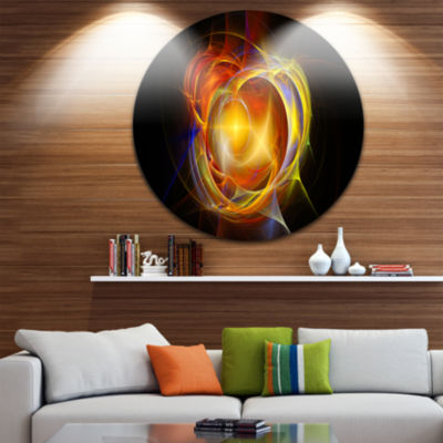 Design Art Supernova Explosion in Black Disc LargeContemporary Circle Metal Wall Arts