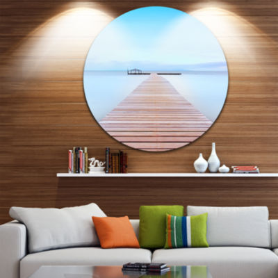 Design Art Wooden Pier in Cold Atmosphere SeascapeCircle Metal Wall Art