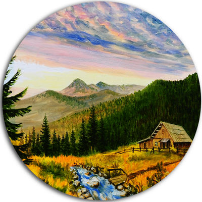 Design Art Sunset in Mountains Landscape Metal Circle Wall Art