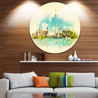 Design Art Toronto City Watercolor Disc CityscapePainting Circle Metal Wall Art