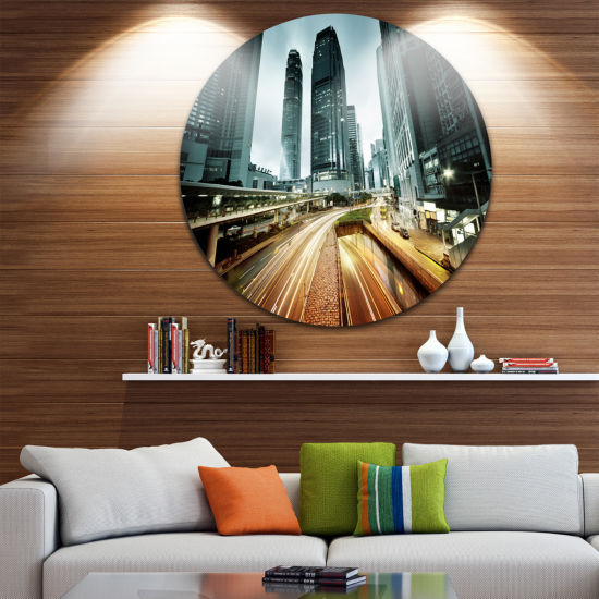 Design Art Traffic in Hong Kong at Sunset Disc Cityscape Photo Circle Metal Wall Art