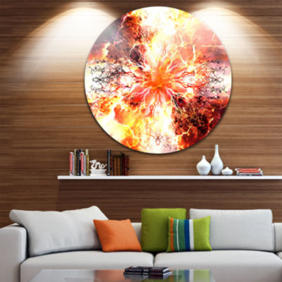 Design Art Yellow Tree Pattern Mandala Abstract Art on Round Circle Metal Wall Decor Panel