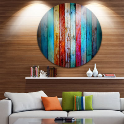Design Art Vintage Wooden Pattern Disc Contemporary Artwork on Circle Metal Wall Art