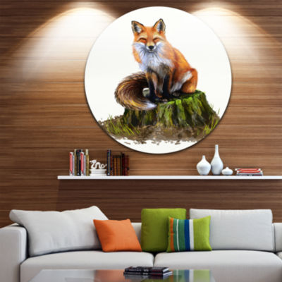 Design Art The Clever Fox Illustration Animal Circle Metal Wall Art