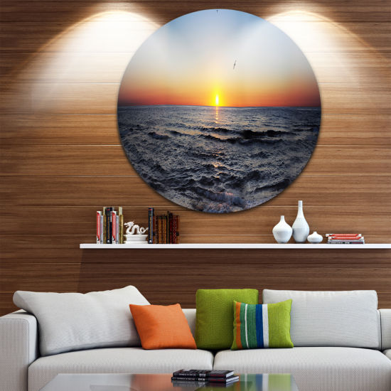 Design Art Sunrise at Sea Panorama Disc Photography Circle Metal Wall Art