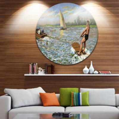 Design Art Water Skiing Disc Photography Circle Metal Wall Art