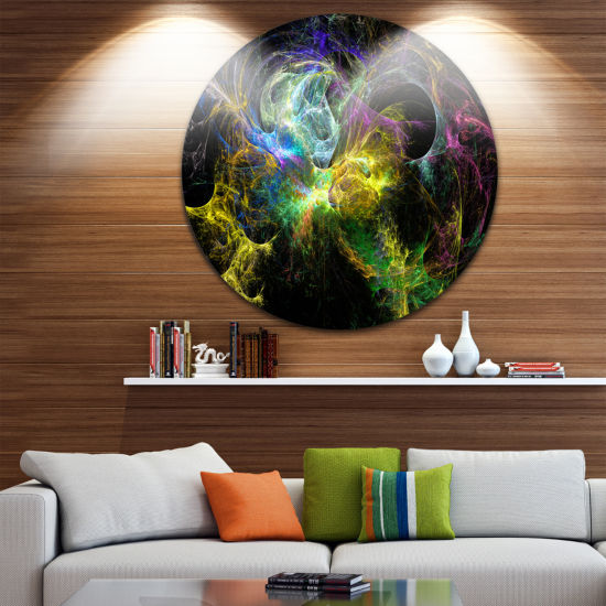Design Art Wings of Angels Yellow Abstract CircleMetal Wall Art