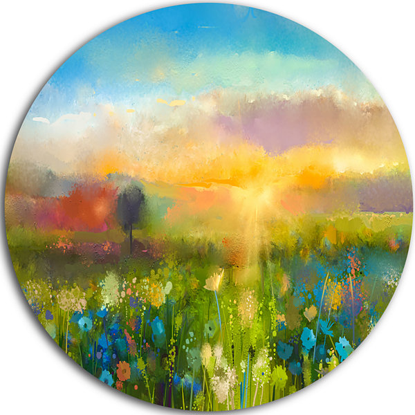 Design Art Sunset Meadow Landscape Disc Contemporary Circle Metal Wall Art