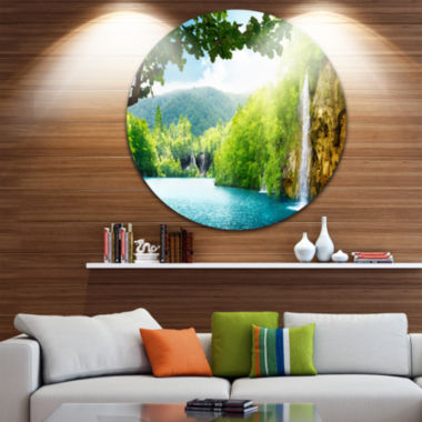 Design Art Waterfall in Deep Forest Disc LandscapePhotography Circle Metal Wall Art
