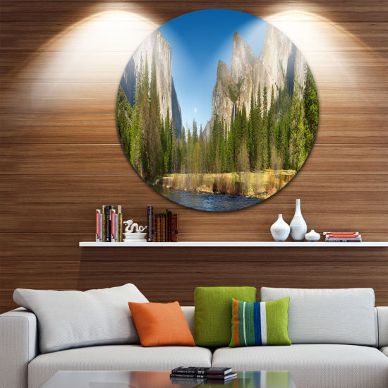 Design Art Yosemite Valley Panorama Disc LandscapeCircle Metal Wall Art