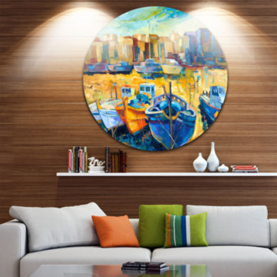 Design Art Wharf and Boats Seascape Circle Metal Wall Art