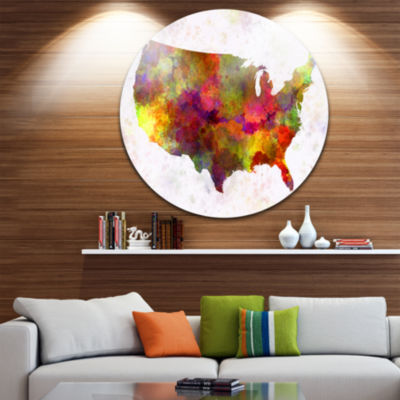 Design Art United States Map in Colors Disc Watercolor Painting Circle Metal Wall Art