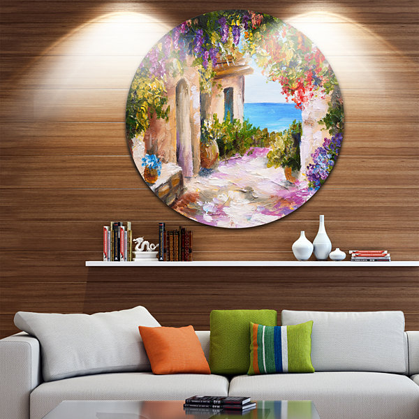 Design Art Summer Seascape Landscape Circle MetalWall Art