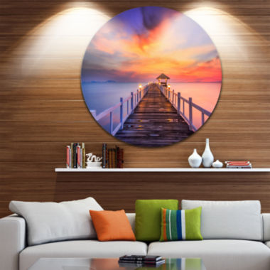 Design Art Wooden Bridge Landscape Photography Circle Metal Wall Art