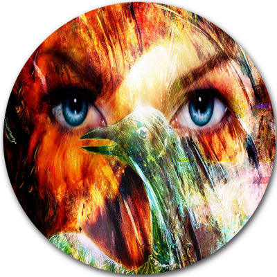 Design Art Woman Feather Collage Portrait Circle Metal Wall Art