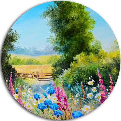 Design Art World of Flowers Floral Metal Circle Wall Art