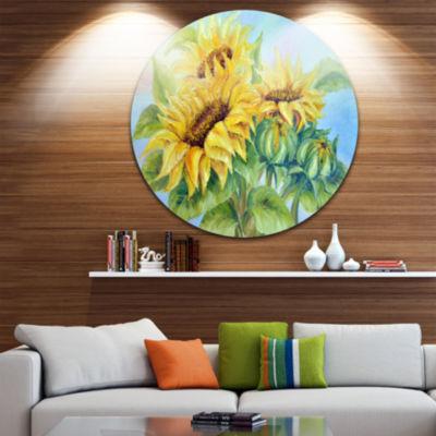 Design Art Three Sunflowers Floral Circle Metal Wall Art