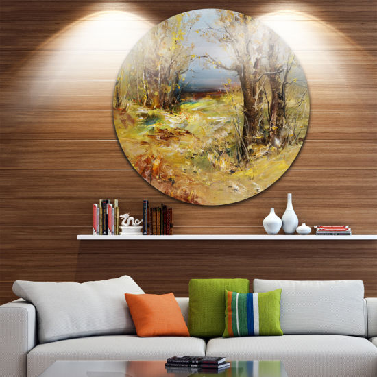 Design Art Yellow Forest Landscape Circle Metal Wall Art