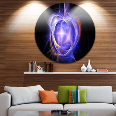 Design Art Supernova Explosion Blue Disc Large Contemporary Circle Metal Wall Arts