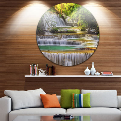 Design Art Tranquil Erawan Waterfall Disc Landscape Circle Metal Wall Art