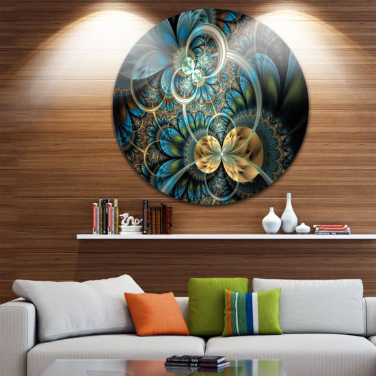 Design Art Symmetrical Blue Gold Fractal Flower Disc Large Contemporary Circle Metal Wall Arts