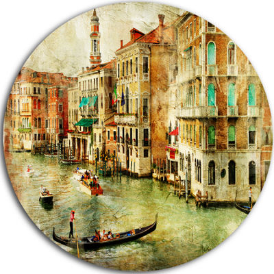 Design Art Vintage Venice Disc Contemporary Landscape Circle Metal Wall Art
