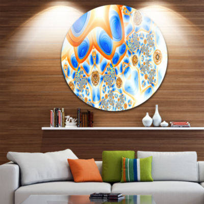 Design Art Yellow Blue Exotic Pattern Abstract Round Circle Metal Wall Art Panel