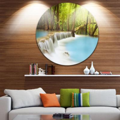 Design Art Waterfall of Huai Mae Kamin Disc Landscape Circle Metal Wall Art