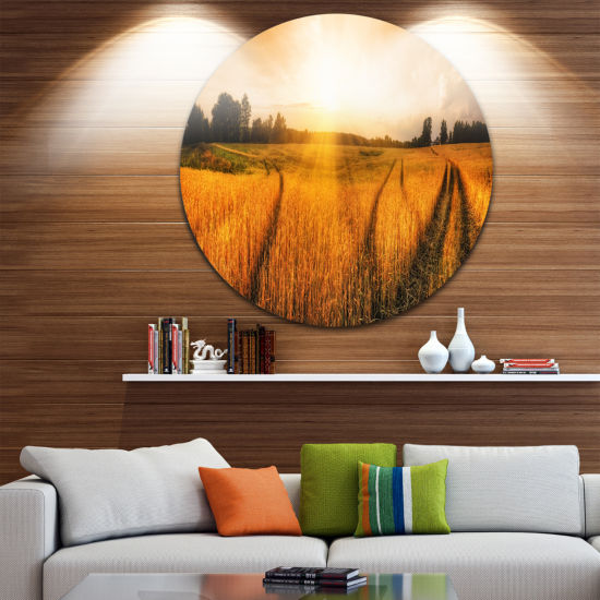 Design Art Wheat Field at Sunset Panorama Disc Photography Circle Metal Wall Art
