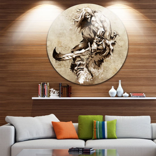 Design Art Warrior Fighting Tattoo Art Abstract Portrait Circle Metal Wall Art