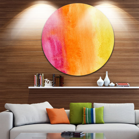 Design Art Yellow Purple Meet Orange Abstract Metal Circle Wall Art