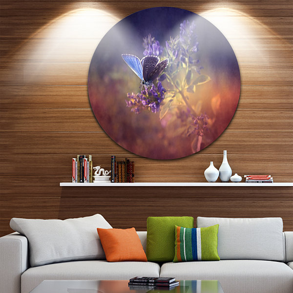 Design Art Vintage Butterfly Floral Circle Metal Wall Art
