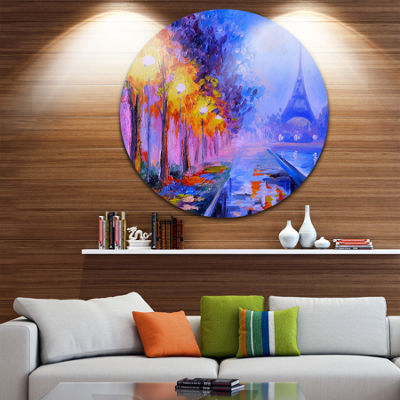 Design Art View of Paris Eiffel Tower Landscape Metal Circle Wall Art