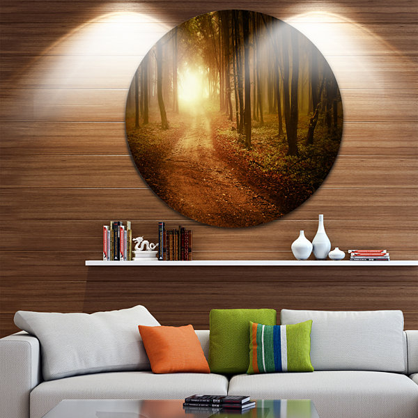 Design Art Sunrise in Foggy Forest Landscape Photography Circle Metal Wall Art