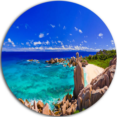 Design Art Tropical Beach Panorama Seascape CircleMetal Wall Art